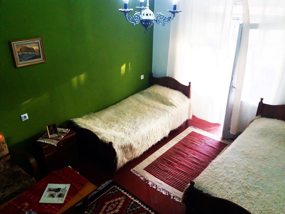 Room has view on the boulevard 'Skenderbeu' through the balcony