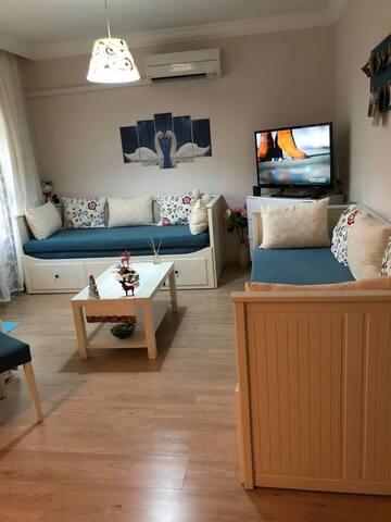 Salon, çift kişilik açılabilen rahat kanepeler ve LG Smart TV, 18.000 BTU Inverter Klima A++