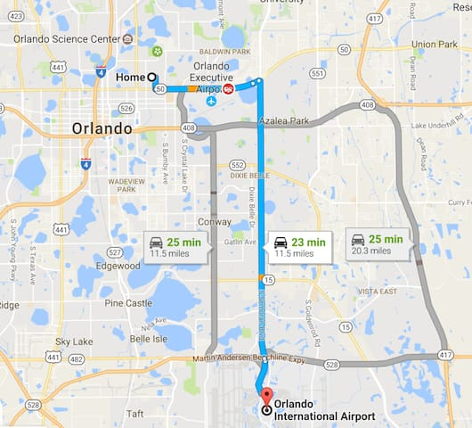 Distance to Orlando Airport (MCO)