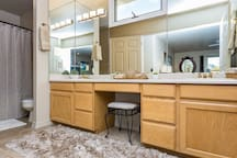 Master bathroom with double sinks, tons of light, lots of room