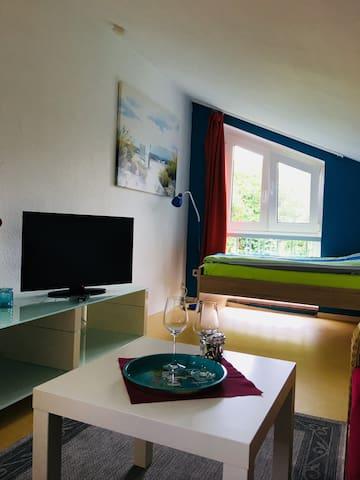 Wohnzimmer mit Bett Nummer 1:      1 x 2m