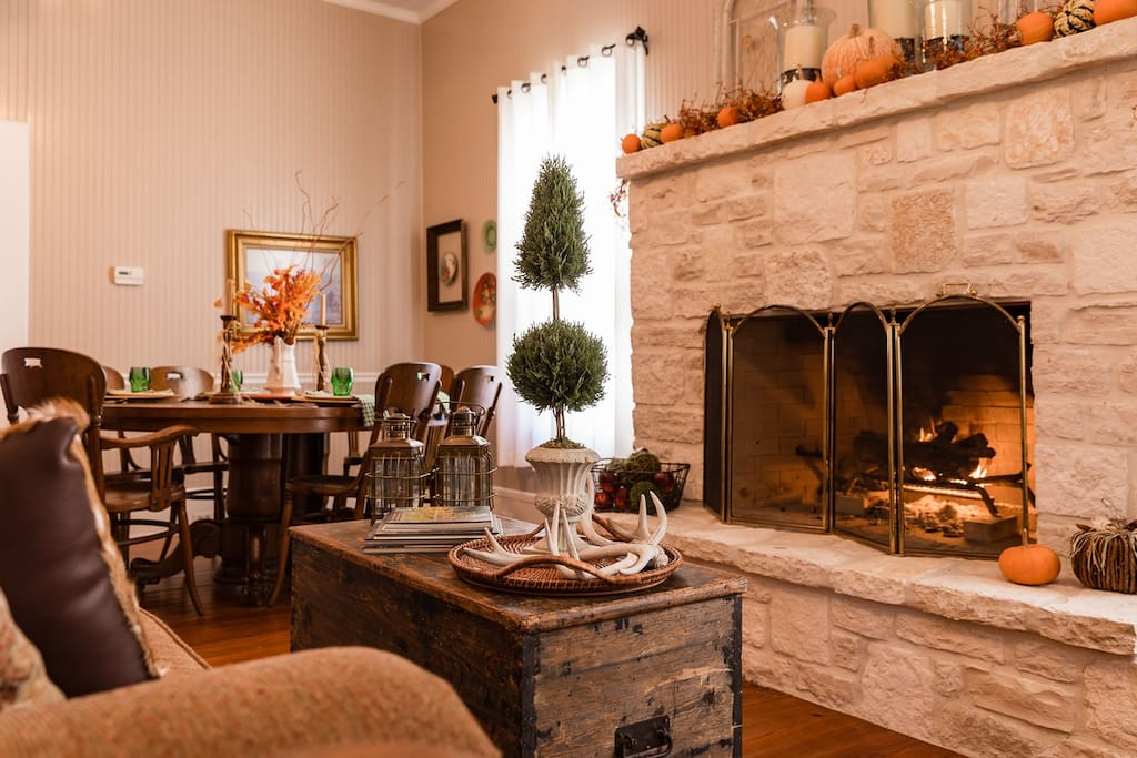 When the days turn cold and chilly, the fireplace is a favorite spot.