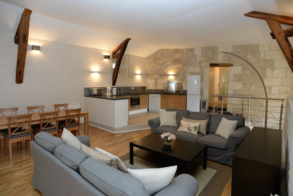 Spacious open plan living - kitchen, sitting and dinning areas