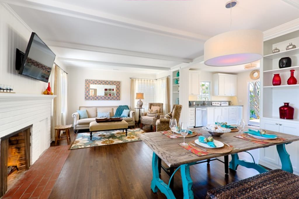 Living room and dining room are combined to make for easy family time and socializing