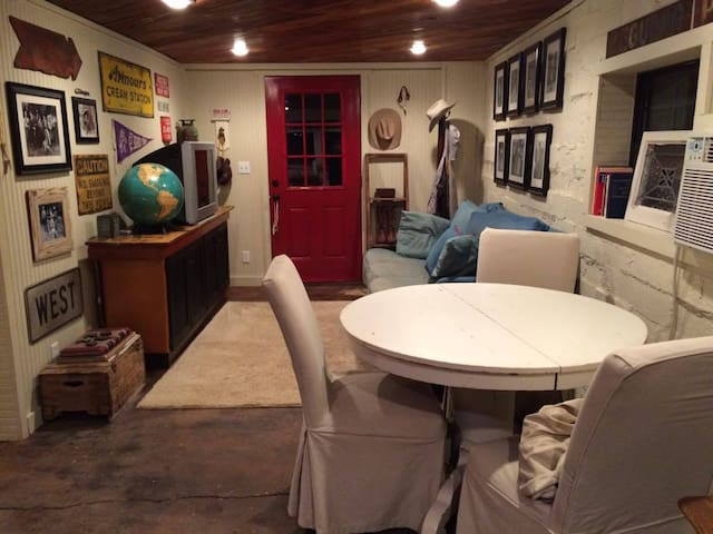 Living area looking out from kitchen area