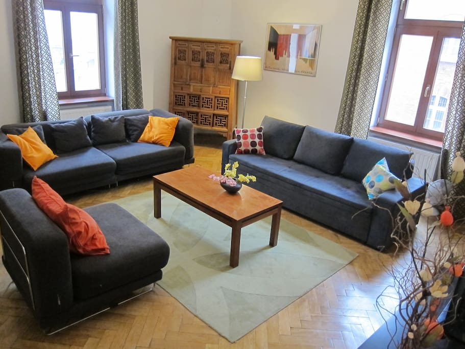 Apartment 1 - living room - a comfortable place to relax. 2 double sofa beds for extra sleeping space