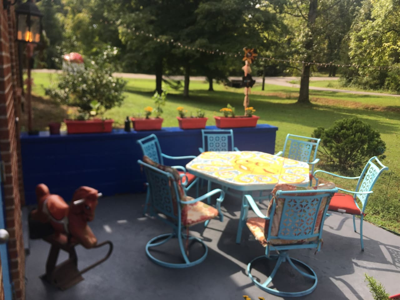 This is the patio you can enjoy right outside of your apartment. It is a one bedroom apartment in a walkout basement.