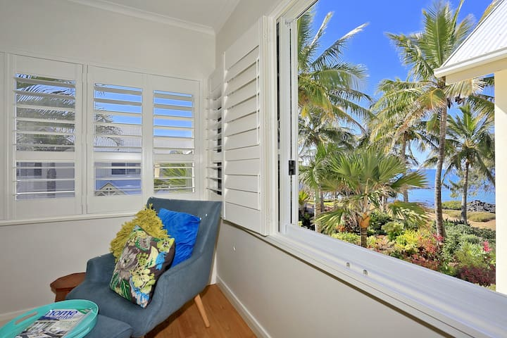 Magical view from the main bedroom.  Modern classic decor complimented with white shutters.