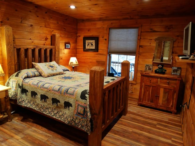Adirondack style bedroom with TV and dresser and double closet. New memory foam mattress too!