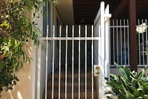 Private gate to the studio