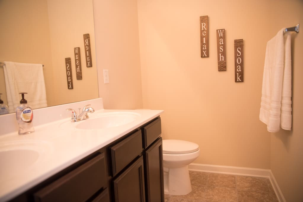 Master bathroom, with a double sink.