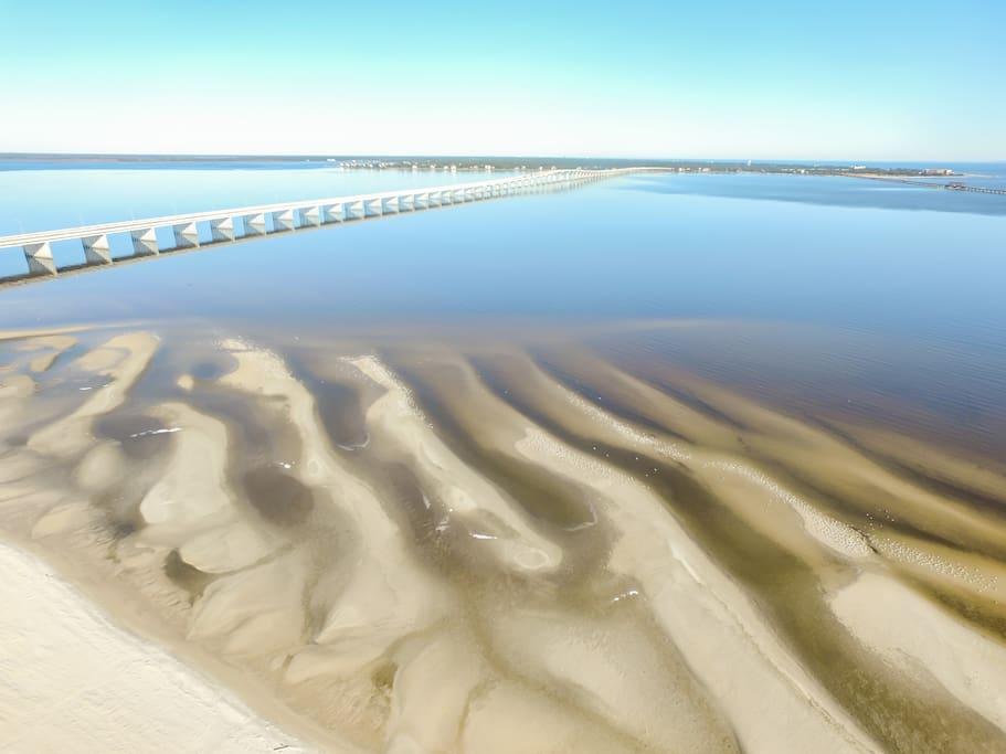 Low tide reveals undulating sandbars