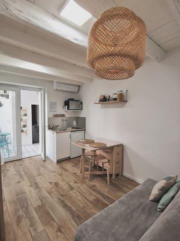 Plein centre-maison carrée-P1 Bis/balcon/clim/WiFi