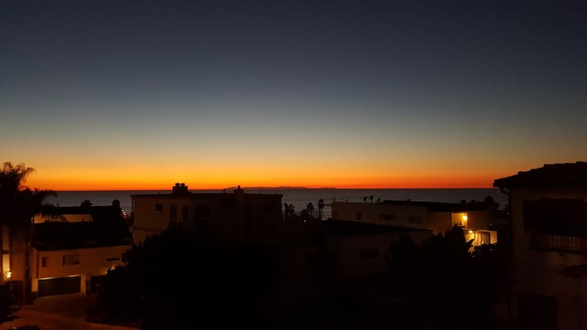 Incredible sunsets behind catalina island from patio view