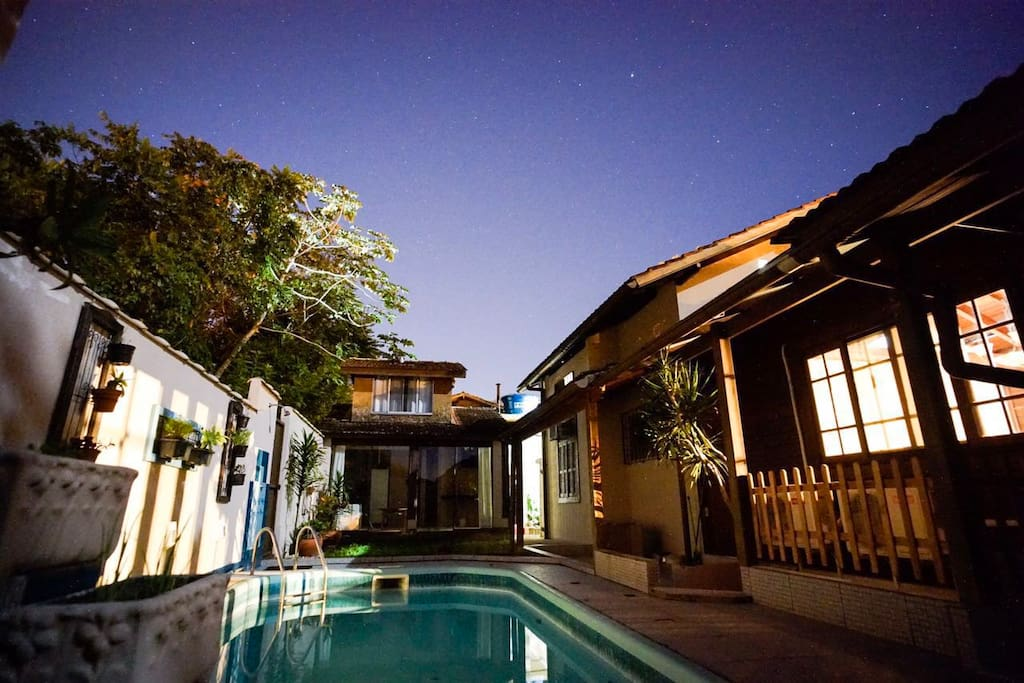 The loft is facing the pool. When it's a clear night, you get to see many many stars.