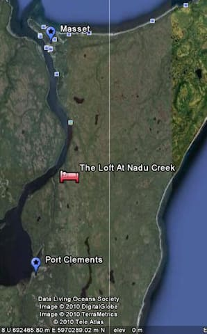 15 minutes North of Port Clements and 20 minutes South of Masset