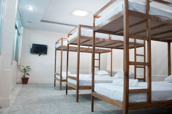 8 bunk single bed for travelers with locker room available.
