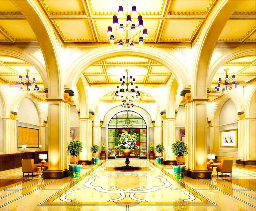 经典的欧洲维多利亚式酒店大堂,气派非凡