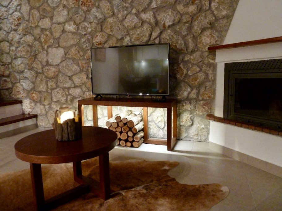 Living room with satellite TV and fireplace
