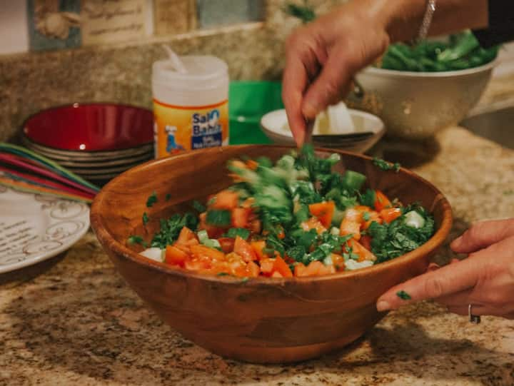 Mixing Delicious Healthy Fattoush.