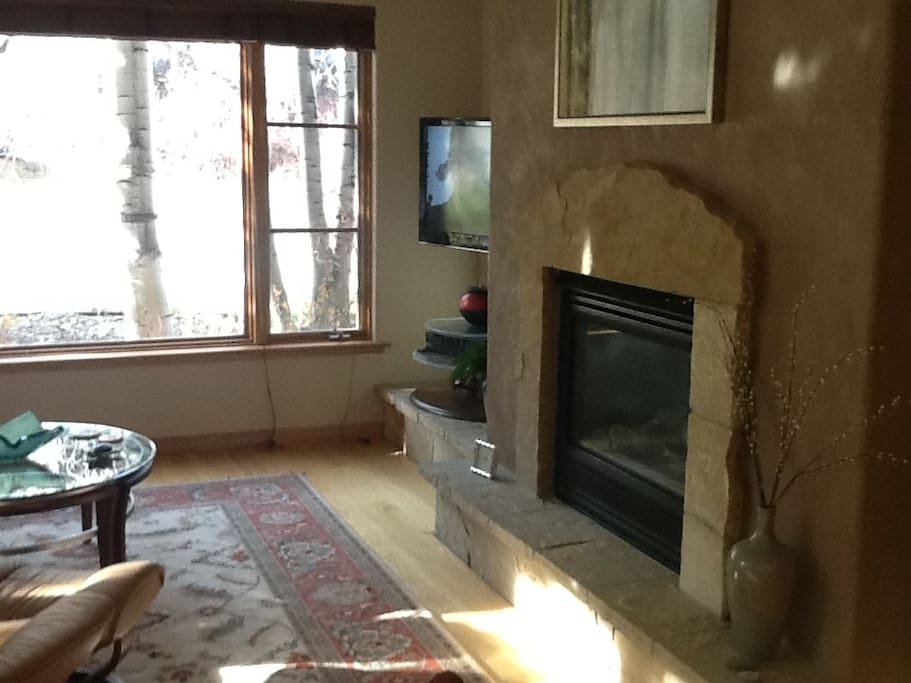Gas fireplace, flat screen TV, cable, and wi-fi.