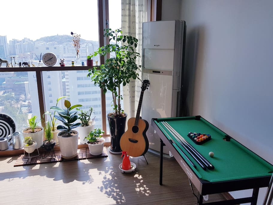 little garden / AC and pool table