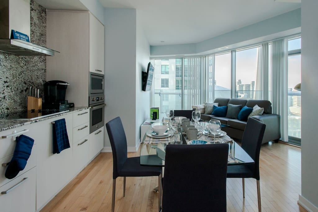 Living room and CN Tower in the background