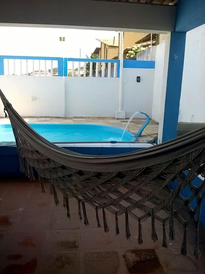 Casa de praia com piscina em Buzios-RN.