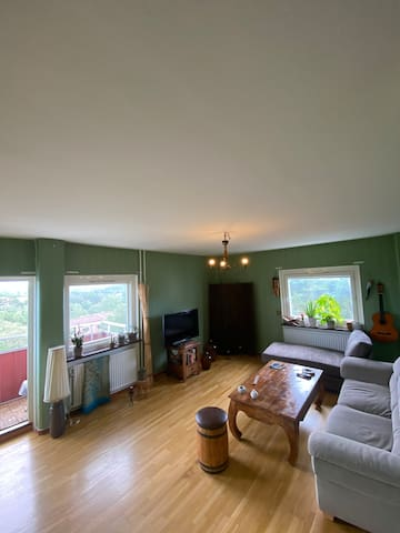 Living room with an HD TV connected to Google ChromeCast