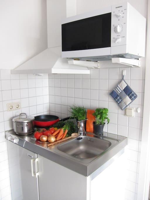 Die Pantryküche ist nur ein Teil der Küche, eine weitere Zeile mit Geschirrspüler ist zusätzlich vorhanden.