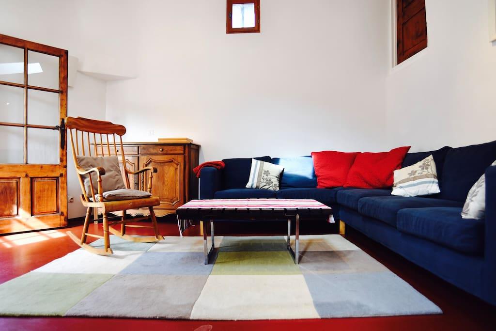 Living room - corner sofa and vintage rocking chair