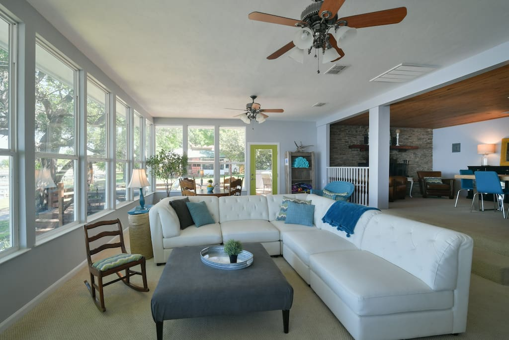 Lots of space and beautiful views in the living room that opens to side deck.