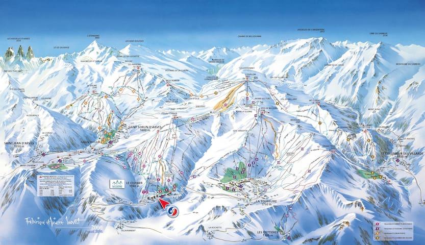 Plan du domaine skiable des Sybelles, 310km de pistes. Vous trouverez Saint Sorlin niché à 1600 mètres d'altitude.  A proximité dans le domaine : Saint Jean d'Arves, La Toussuire, le Corbier