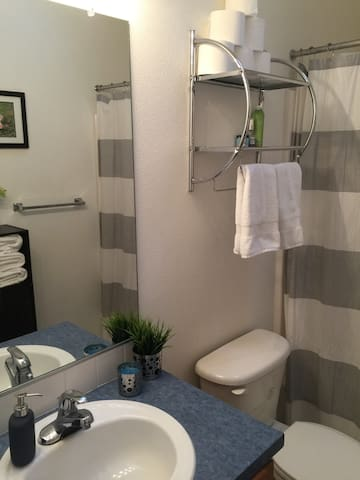Private bathroom with all the amenities to meet your travel needs