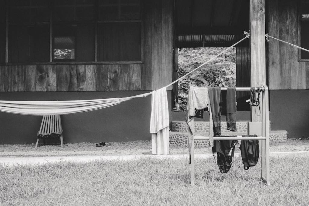 We do offer laundry service on site, however many guests prefer to air-dry their clothes in the sun.
