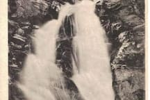 Old postcard of our waterfall.  So peaceful to hear it roaring below you.