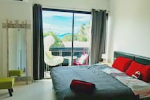 Master Bedroom 2-nd floor with balcony and seaview.