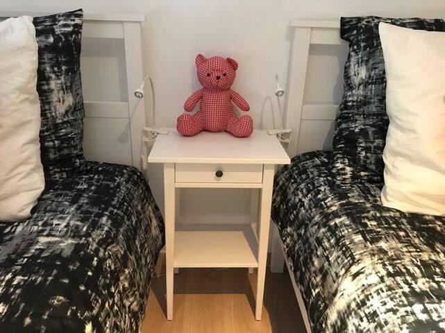 Chambre double. 1 grand lit en 160 et 1 lit en 90