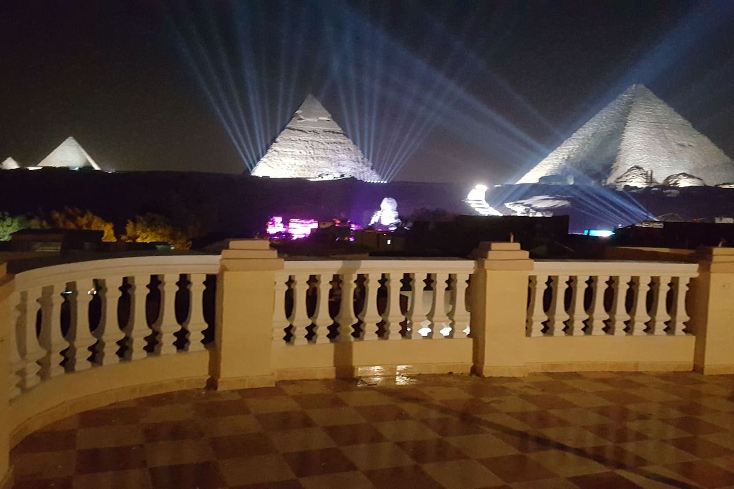 3 pyramids and sphinx during the sound & light show