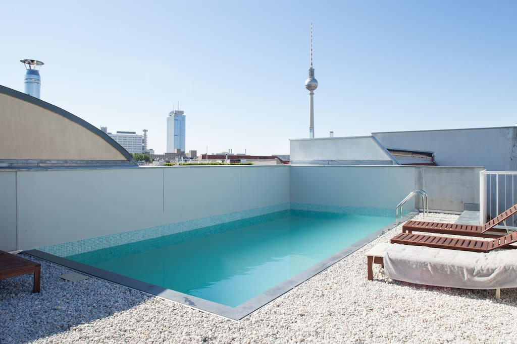modernes mitte loft mit balkon dachterrasse pool lofts zur miete in berlin berlin deutschland. Black Bedroom Furniture Sets. Home Design Ideas