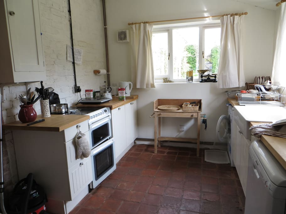 One end of spacious kitchen