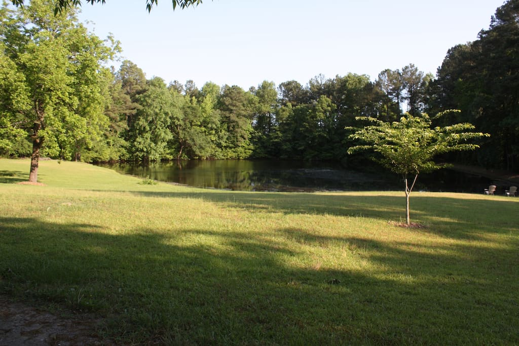 View from driveway of pond. Yes, fishable! Bass, bream, crappie.