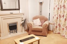 Full central heating throughout as well as remote controlled flame effect electric fire.