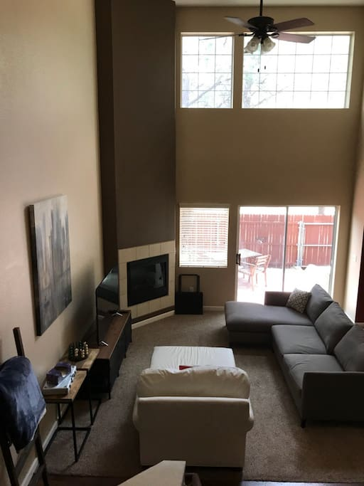 The family room is spacious and two-stories, talk about a great room!