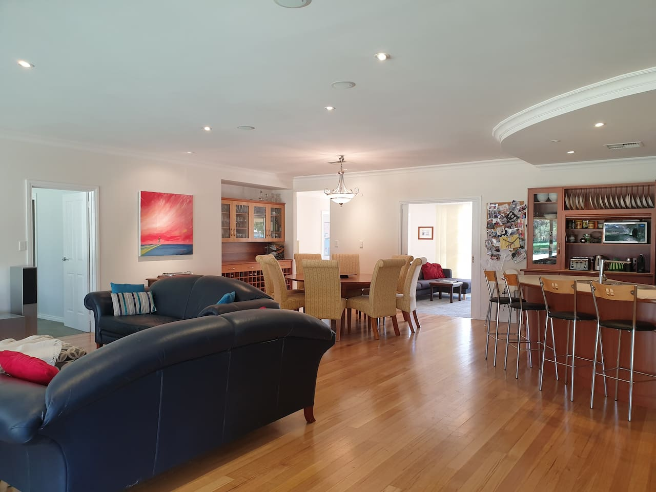 The spacious living areas are ideal for a large group of golfers or several families