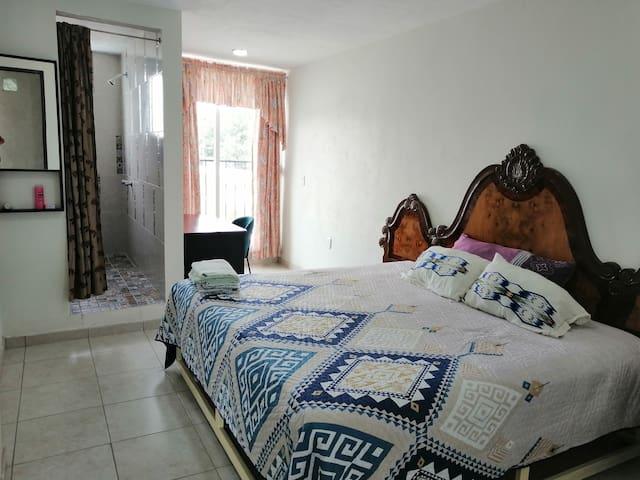 Habitación con cama king size , baño completo . Y un pequeño escritorio