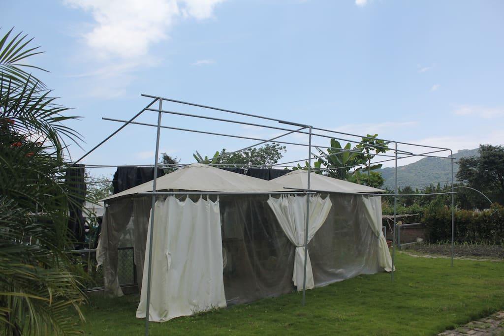 農場帳篷可遮陽喝下午茶