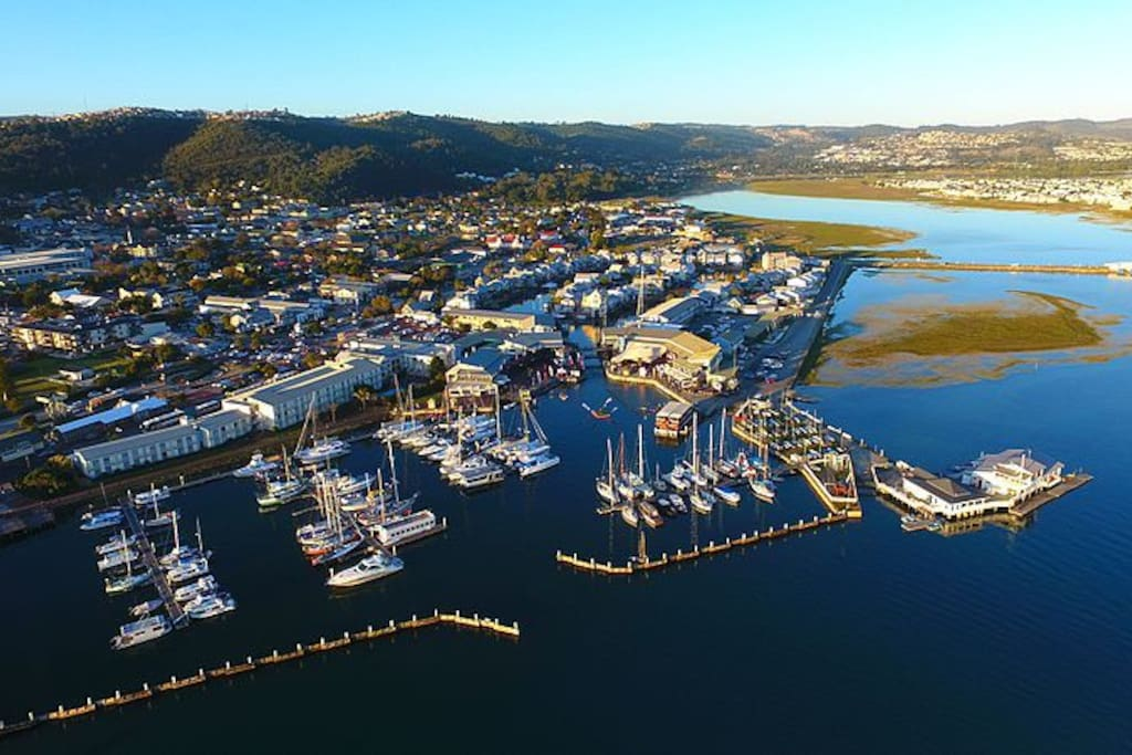 Waterfront for boat trips and restaurants adjacent to the Knysna Quays