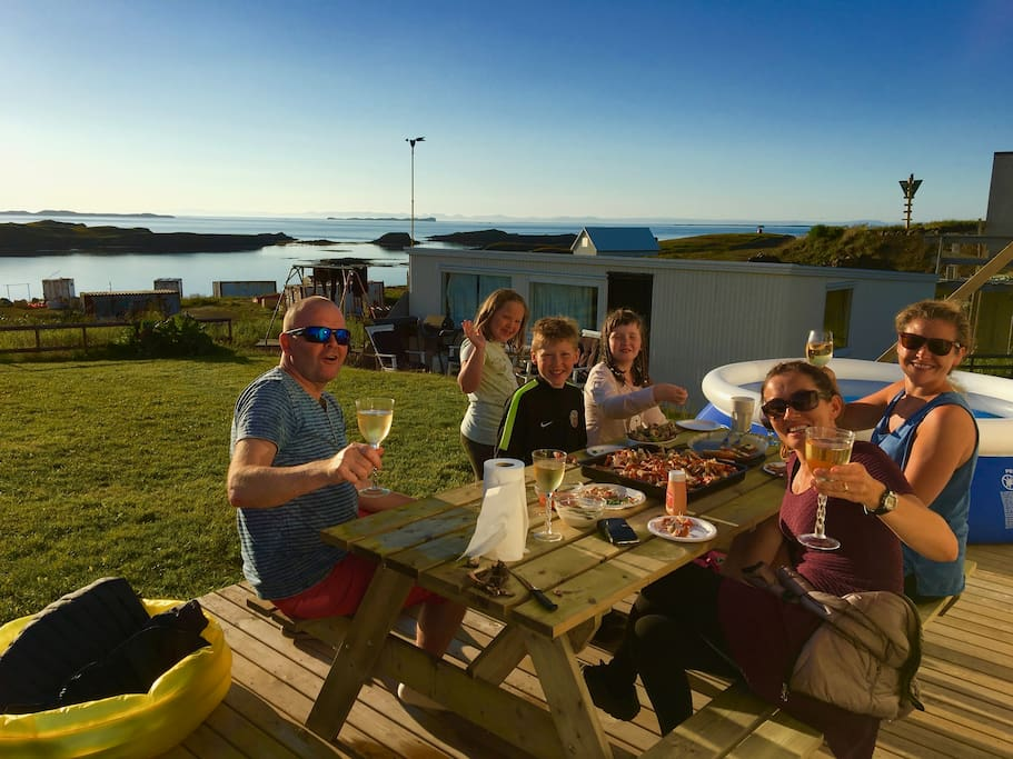 Fun seafood-dinner on the new veranda with great people