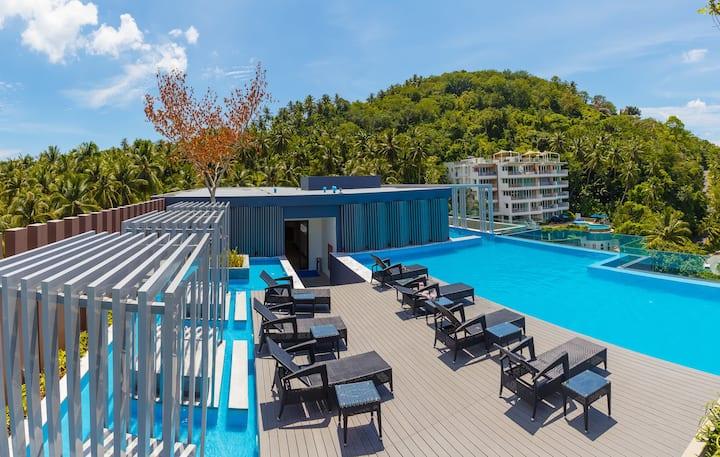 Fresh studio in new condo, top-floor! ❤️ Infinity pool! Surin Beach (713С)